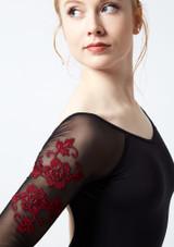 Maillot con bordado floral y manga 3/4 de malla Ballet Rosa Negro-Rojo frontal #2. [Negro-Rojo]