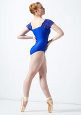 Maillot con bordado floral y mangas cortas de malla Ballet Rosa Azul trasera. [Azul]