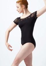 Maillot bordado con mangas cortas de malla Ballet Rosa Negro frontal. [Negro]
