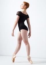 Maillot bordado con mangas cortas de malla Ballet Rosa Negro trasera. [Negro]