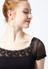 Maillot bordado con mangas cortas de malla Ballet Rosa Negro frontal #2. [Negro]