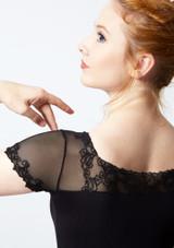Maillot bordado con mangas cortas de malla Ballet Rosa Negro trasera #2. [Negro]