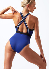 Maillot con cremallera delantera Move Dance Passion Azul frontal. [Azul]