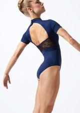 Maillot de encaje con mangas cortas  Iona Move Dance Azul trasera. [Azul]