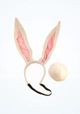 Juego de orejas y cola de conejo Blanco frontal. [Blanco]