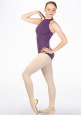 Maillot con cuello alto y espalda descubierta Zia Move Violeta lateral. [Violeta]