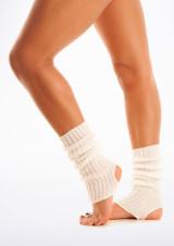 Calentadores con tira para el pie, 40 cm Blanco. [Blanco]