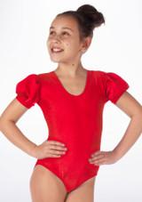 Alegra Girls Shiny Rosalie Leotard Rojo frontal #2. [Rojo]