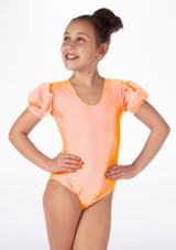 Alegra Girls Shiny Rosalie Leotard Naranja frontal. [Naranja]