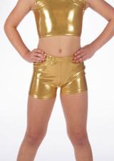 Pantalon Corto Gimansia Nina Metalico Alegra Oro frontal. [Oro]