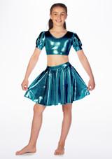 Falda de Baile Nina Metalica de Vuelo Alegra Verde frontal. [Verde]