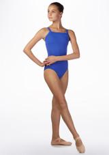 Maillot Ballet Chica con Tirantes Anchos Ballet Rosa Azul frontal. [Azul]