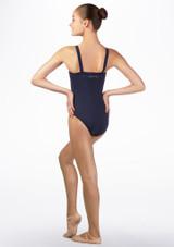 Maillot Ballet Chica con Tirantes Anchos Ballet Rosa Azul trasera #2. [Azul]