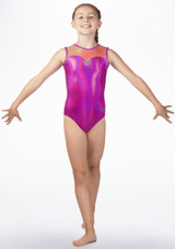 Maillot de gimnasia Opal sin mangas The Zone Rosa frontal. [Rosa]
