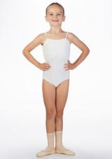 Maillot Ballet Nina con Tirantes Ria Move Dance Blanco frontal. [Blanco]