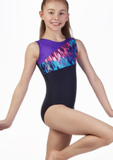 Maillot Malva para nina de gimnasia sin mangas Alegra Negro-Violeta frontal. [Negro-Violeta]