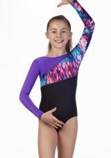 Maillot Malva para nina de gimnasia con manga larga Alegra Negro-Violeta frontal. [Negro-Violeta]