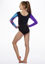 Maillot Malva para nina de gimnasia con manga larga Alegra Negro-Violeta trasera. [Negro-Violeta]