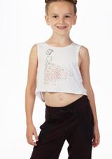 Camiseta de danza drapeada Bloch nina Blanco frontal. [Blanco]