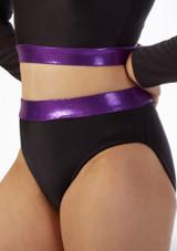 Pantalon Corto Gimansia Nina con Cinturilla Alegra Fuse Negro-Violeta frontal. [Negro-Violeta]