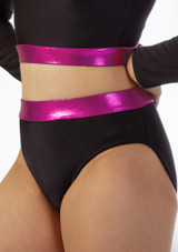 Pantalon Corto Gimansia Nina con Cinturilla Alegra Fuse Negro-Rosa frontal. [Negro-Rosa]