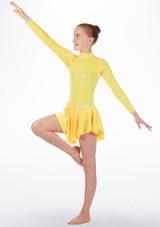 Maillot de danza con falda y manga larga Tappers & Pointers Amarillo frontal. [Amarillo]