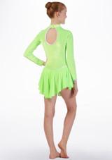 Maillot de danza con falda y manga larga Tappers & Pointers Verde trasera. [Verde]