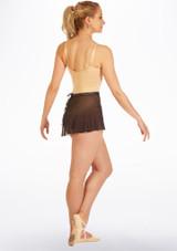 Falda de Ballet Cruzada con Estampado de Celosia Ballet Rosa Negro trasera. [Negro]