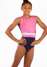 Maillot de gimnasia Hannah sin mangas Alegra Azul frontal. [Azul]