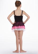 Falda de Baile con Triple Capa So Danca Negro-Rosa trasera. [Negro-Rosa]