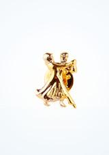Spilla con strass Dancing Couple Oro frontal. [Oro]