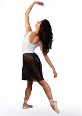 Falda de danza de malla Ballet Rosa Negro trasera. [Negro]