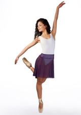 Falda de danza de malla Ballet Rosa Violeta frontal. [Violeta]