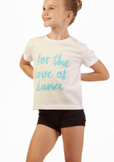 Camiseta Eslogan 'Love Dance' Move Dance Blanco frontal. [Blanco]