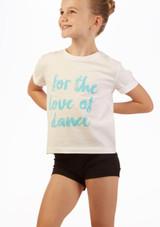Camiseta Eslogan 'Love Dance' Move Dance Blanco frontal. [Blanco]