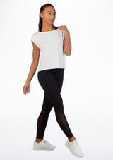 Camiseta de baile con espalda de malla Move Blanco frontal. [Blanco]
