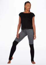 Camiseta de baile con espalda de malla Move Negro frontal. [Negro]