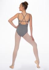 Maillot Ballet Nina con Doble Tirantes Cruzados So Danca Gris trasera. [Gris]