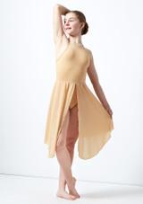 Vestido de baile lirico cruzado en la espalda para joven Atlas Move Dance Marrón Claro frontal. [Marrón Claro]