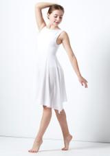Vestido de baile lirico asimetrico para joven Portia Move Dance Blanco frontal. [Blanco]