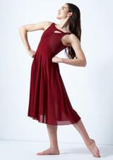 Vestido de baile lirico con aperturas Thalassa Move Dance Rojo frontal. [Rojo]