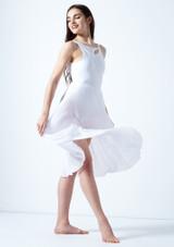 Vestido de baile lirico con aperturas Thalassa Move Dance Blanco frontal. [Blanco]