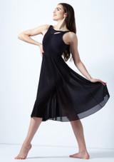 Vestido de baile lirico con aperturas Thalassa Move Dance Negro frontal. [Negro]