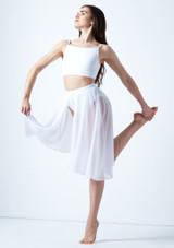 Media falda asimetrica de baile lirico Eris Move Dance Blanco frontal. [Blanco]