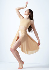 Media falda asimetrica de baile lirico Eris Move Dance Marrón Claro frontal. [Marrón Claro]