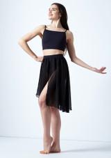 Media falda asimetrica de baile lirico Eris Move Dance Negro frontal. [Negro]
