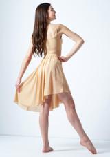 Media falda asimetrica de baile lirico Eris Move Dance Marrón Claro trasera. [Marrón Claro]