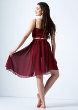 Media falda asimetrica de baile lirico Eris Move Dance Rojo trasera. [Rojo]