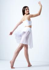 Media falda asimetrica de baile lirico Eris Move Dance Blanco trasera. [Blanco]