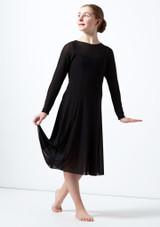 Vestido de baile lirico de manga larga para joven Dia Move Dance Negro frontal. [Negro]